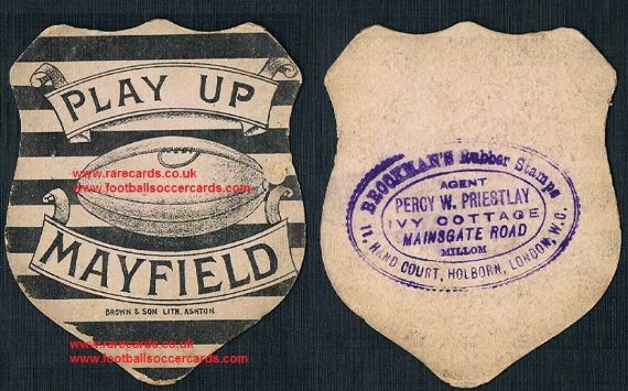 1890 Mayfield rugby Brown & Son Ashton u-Lyme Baines-like card